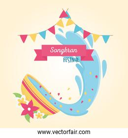 songkran festival bowl with water flowers bunting celebration design card