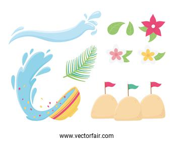 songkran festival splash water bowl flowers sand flags icons