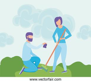 eco friendly scene and people with garden tools