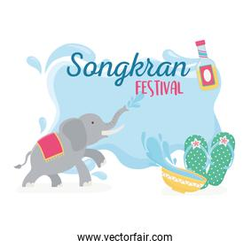 songkran festival elephant sandals and bowl with water