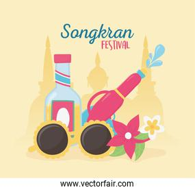 songkran festival water gun sunglasses drink bottle flowers celebration