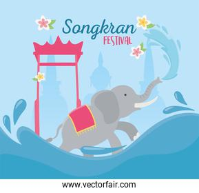 songkran festival elephant and gate landmark thai card