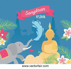 songkran festival elephant buddha water flowers decoration card