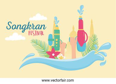 songkran festival hands with water guns flowers decoration