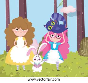 girls and rabbit grass tree forest nature