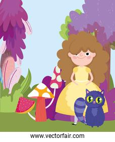 girl with cat mushrooms trees foliage grass in wonderland