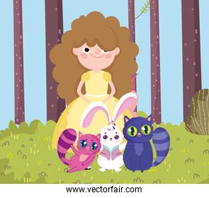 girl with cats and rabbit trees grass in wonderland