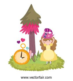 girl with cat in head and clock tree foliage in wonderland