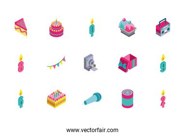 bundle of birthday celebration set icons