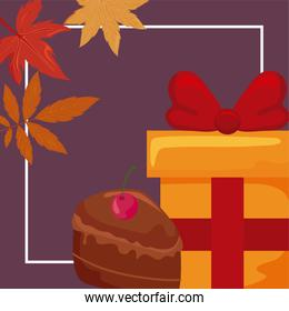gift box with portion of cake with autumn leaves of background