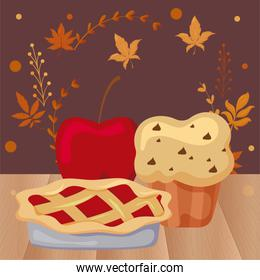 delicious and fresh cakes with apple with autumn leaves of background