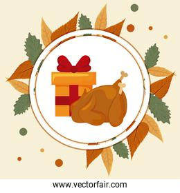 gift box with turkey roasted and autumn leaves of background