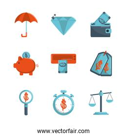 money business financial trade commerce icons set color tone and fill