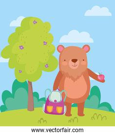 back to school, bear with backpack and apple