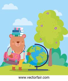 back to school, bear books globe map backpack tree outdoor