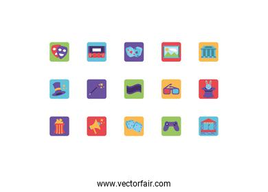 set of icons of entertainment on white background