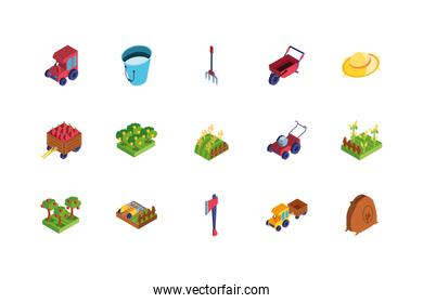 set of icons of farm on white background