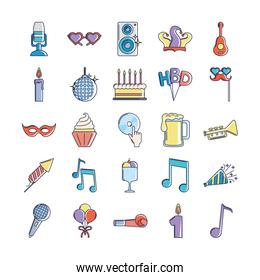 happy birthday, decoration event festive celebration party icon set line and fill style