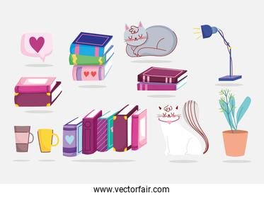 book day, cats books plant lamp coffee cup