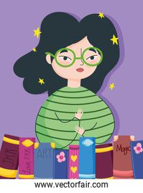 book day, teen girl with and books literature cartoon