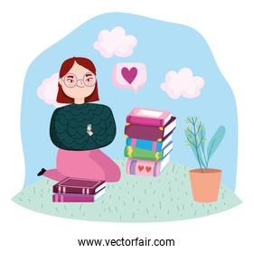 book day, teen girl with books and plant in pot
