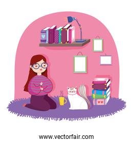 book day, girl with cat coffee cup and books