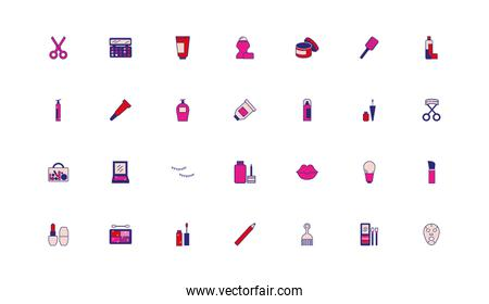bundle of make up accessories icons