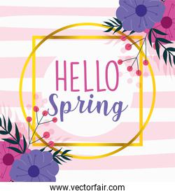 hello spring, season lettering flowers nature stripes background