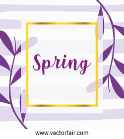 hello spring, purple phrase leaves decoration background