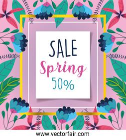 spring sale, discount offer message lettering flowers background