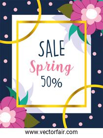 spring sale, advertisement offer seasonal flowers dotted background
