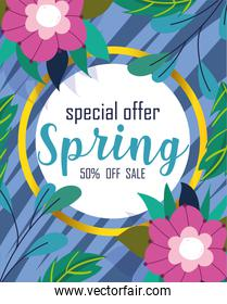 spring sale, special offer discount flowers foliage background