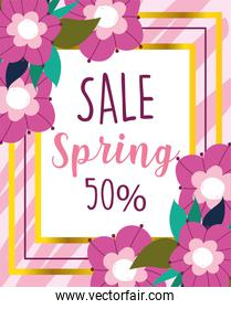 spring sale, commerce disocunt delicate flowers banner