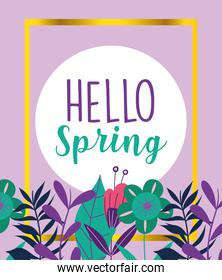 hello spring, flowers floral nature foliage decoration badge