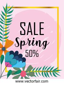 spring sale, discount coupon flowers foliage decoration card