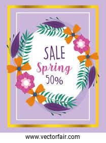 spring sale, clearance event offer wreath flowers nature banner