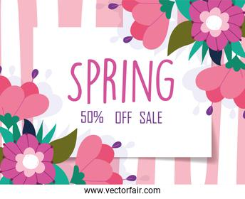 spring sale, off discount marketing flowers striped background banner