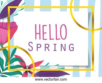 hello spring, flowers nature gold frame decoration design