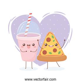 drink and pizza kawaii food cartoon character design