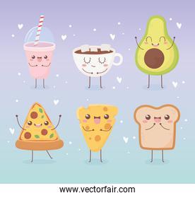 avocado pizza cheese bread chocolate cup kawaii food cartoon character design