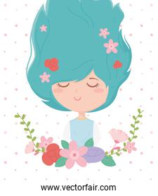 young woman flowers in hair frame decoration cartoon