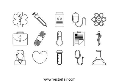 Variety medical icon set pack vector design