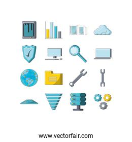 Variety digital and technology icon set pack vector design