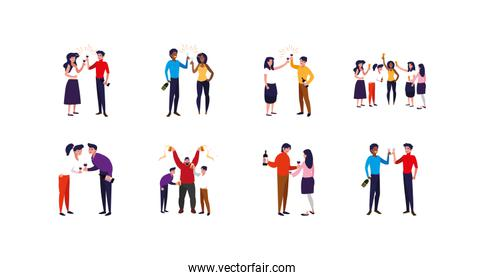 Variety avatar people with drinks icon set