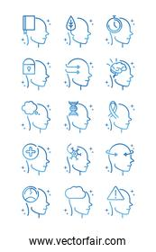 alzheimers disease neurological brain medical condition icons set gradient line