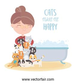 cats make me happy, old woman cats with bathtub
