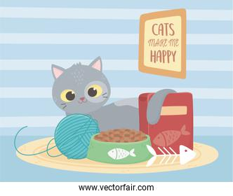 cats make me happy, cat with food ball fishbone