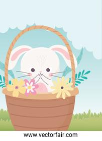 happy easter day, rabbit in basket with egg flowers leaves grass