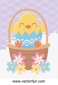 happy easter day, chicken in eggshell basket flowers decoration