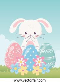 happy easter day, cute rabbit delicate eggs flowers grass